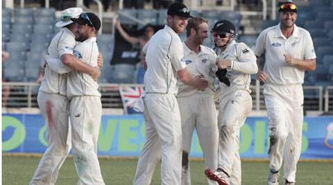New Zealand players celebrate only their second win in 16 tests in the West Indies since their first tour in 1972. New Zealand won by 186 runs. (Source: AP photo)