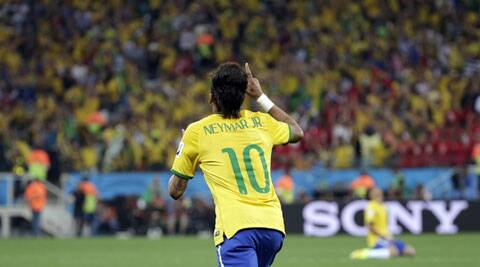 Neymar celebrates after scoring his first goal in the World Cup opener against Croatia (Source: AP)