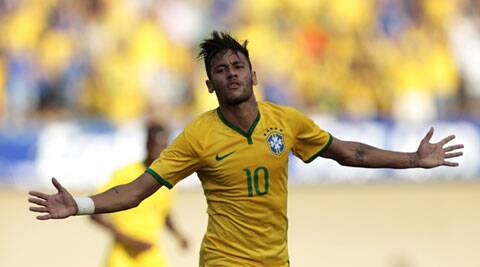 Neymar of Brazil celebrates a goal against Panama during an international friendly soccer match ahead of the 2014 World Cup (Source: Reuters)