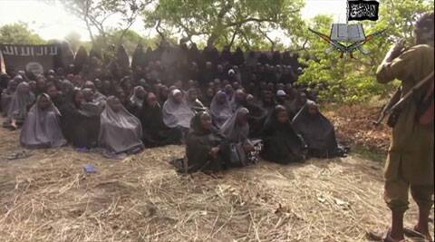This file photo taken from video by Nigeria's Boko Haram terrorist network, Monday, May 12, 2014, shows the missing girls alleged to be abducted April 14, from the northeastern town of Chibok. (AP)
