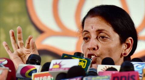 Sitharaman, who is Union Minister of State for Commerce and Industry (Independent charge), is expected to be elected unopposed. (Source: PTI)