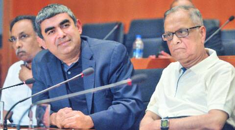 Sikka with Murthy in Bangalore on Thursday. (Source: Express photo by Kashif Masood)