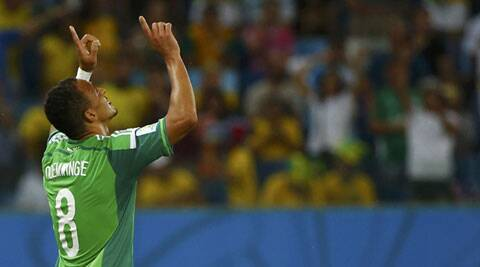 Nigeria's Peter Odemwingie celebrates scoring his goal against Bosnia (Source: Reuters)