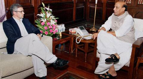 Union Home Minister Rajnath Singh meets Chief Minister of Jammu & Kashmir Omar Abdullah in New Delhi on Friday. (Source: PTI)