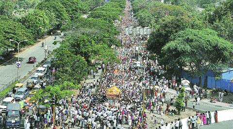 The palkhi of Sant Tukaram near Sangamwadi Bridge on Saturday.Source:, Rajesh stephen