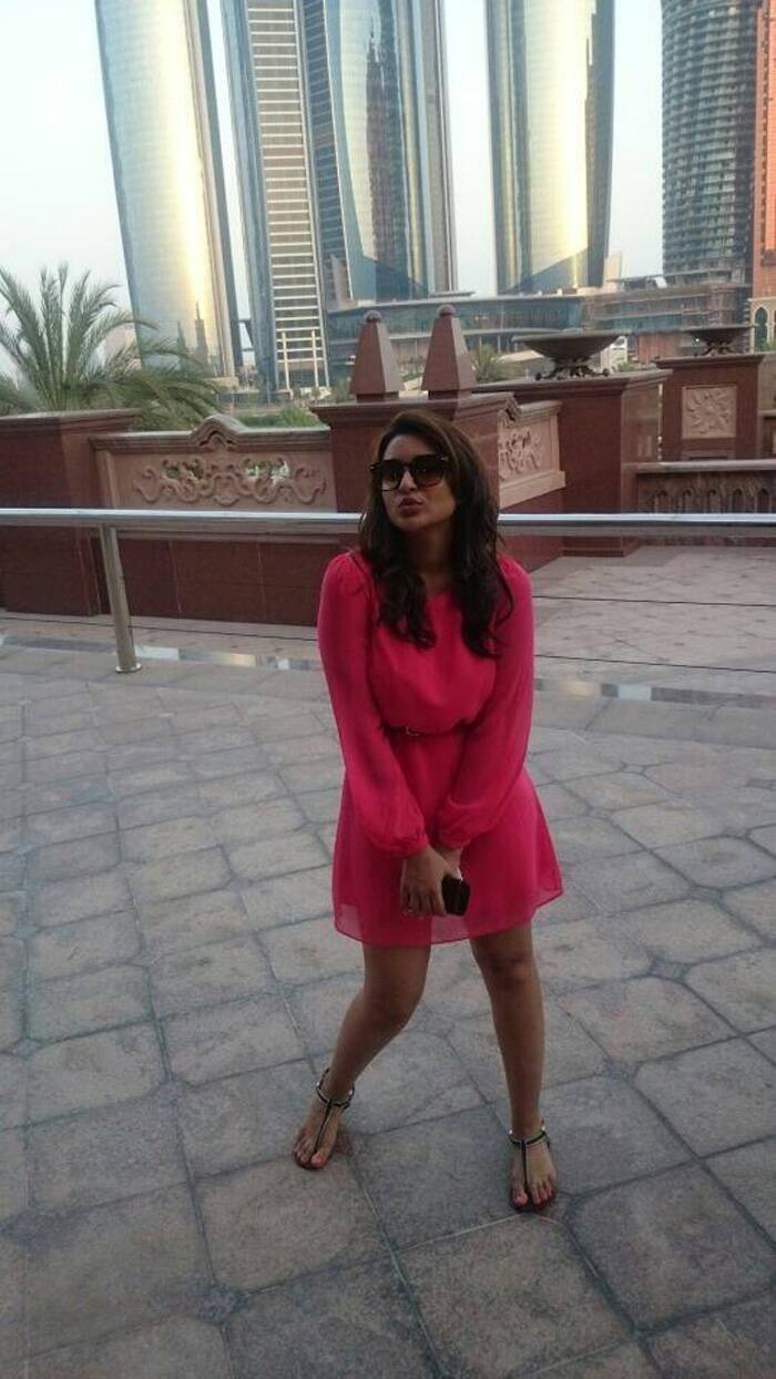 "Parineeti was also in Abu Dhabi. The actress was pretty in a hot pink dress. Parineti said, ""Hotter than the weather (45 degrees) in abu dhabi."" (Source: Twitter)"