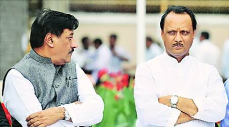 CM Prithviraj Chavan and FM Ajit Pawar during a discussion on the budget for a TV show. (Source: PTI)