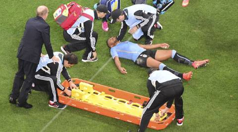 Pereira insisted on continuing in the game and refused to be carried off on a stretcher, despite being knocked unconscious for a few seconds. (Source: AP)