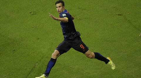 Van Persie scored a stunning goal for his team against Spain in Salvador. (Source; AP)