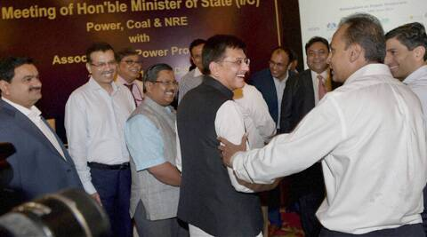 Power Minister Piyush Goyal with business leaders during a meeting with Association of Power Producers, in New Delhi. (PTI)