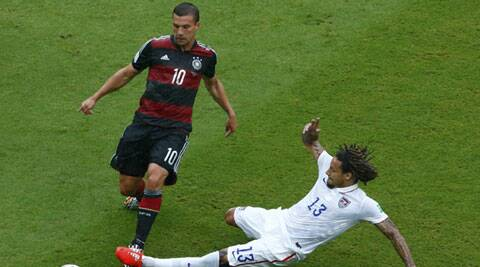 Podolski picked up a thigh muscle injury in Germany's game against USA. (Source: Reuters)