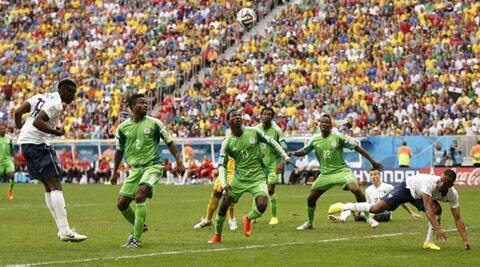France's Paul Pogba (L) scores a goal during their 2014 World Cup round of 16 game against Nigeria (Source: Reuters)