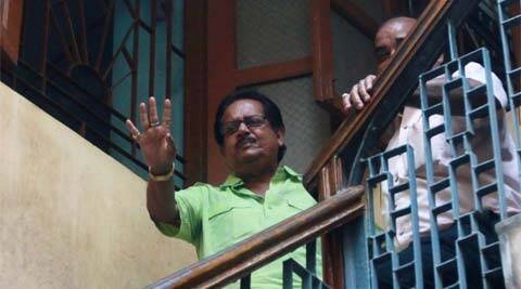 Congress leader Pradip Ghosh at BJP headquarters in Kolkata on Friday.
