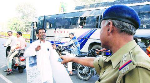 Amrut Prajapati stages a protest against Asaram.