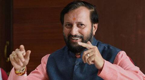 Environment Minister Prakash Javadekar during a press confernce at Indira Paryavaran Bhawan in New Delhi on Thursday. (Source: PTI)