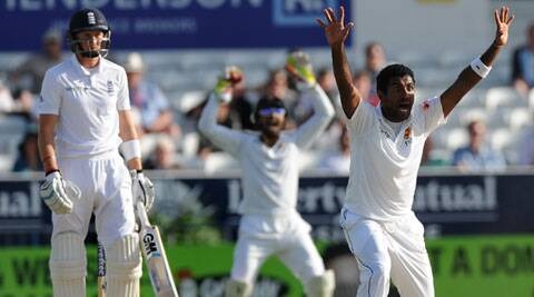 Dhammika Prasad finished the day with figures of 4/15 from his six overs. (Source: AP)