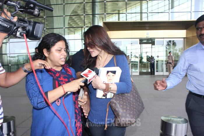 The 39-year-old actress, who had left India soon after filing an FIR against Wadia on June 12, arrived at Chatrapati Shivaji International Airport on Sunday afternoon and refused to speak to the waiting mediapersons. (Source: Varinder Chawla)