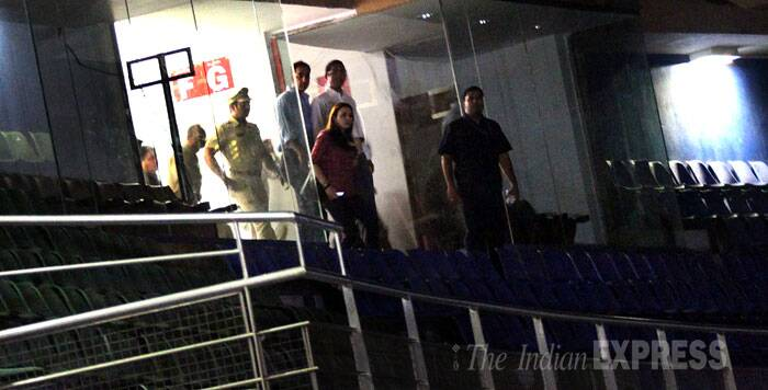 The Marine Drive Police recorded Preity's statement. The actress has registered a case of molestation against her former boyfriend,  industrialist abd IPL team King's XI Punjab co-owner Ness Wadia. She recorded the statement at BCCI office at the stadium premises till 8.20 PM. (Source: IE Photo by Pradip Das)