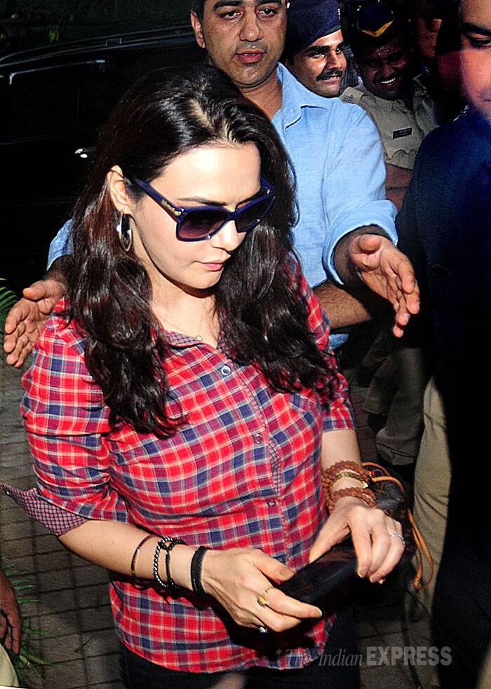 Actress Preity Zinta,  who recently returned to Mumbai post her complaint against former flame Ness Wadia,  went to Wankhede Stadium on Tuesday evening (June 24) along with her lawyer and the police to record her statement. (Source: IE Photo by Pradip Das)