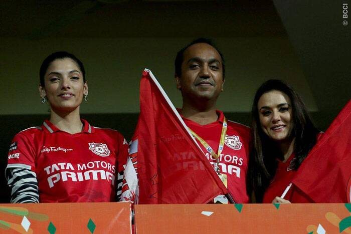 With the flags ready, the actress was not short of support in the owners' box as she cheered her time tirelessly in Bangalore (Source: BCCI/IPL)