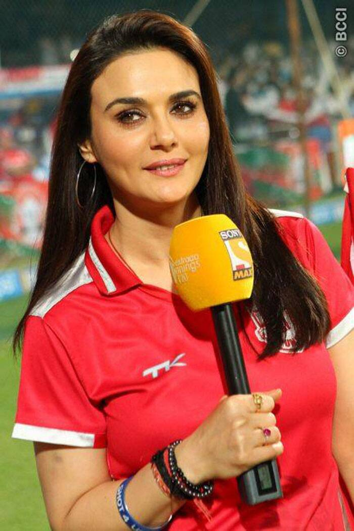"Kings XI Punjab co-owner commenced her final night on a positive note. At the pre-match interaction, she was optimistic about the team's chances and heaped praise on the ""brilliant"" unit. Before they expected, the actress flaunted her dimples for the thousands of spectators and the billions watching from home (Source: BCCI/IPL)"