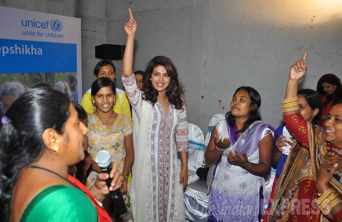 Priyanka interacted with adolescent girls associated with the 'Deepshikha' programme that is supported by UNICEF. (Source: Varinder Chawla)