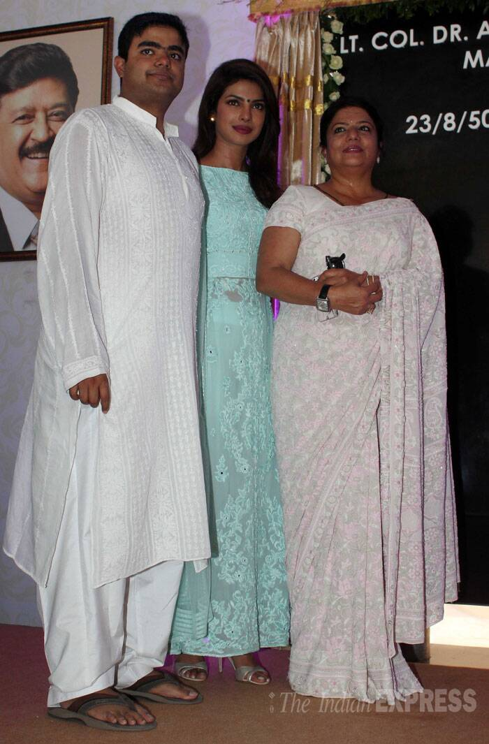 Priyanka and her mother dressed in pastel colours while her brother Siddharth wore a white kurta. (Source: Varinder Chawla)