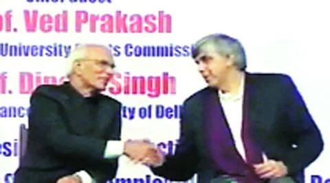 Video grab of Ved Prakash and Dinesh Singh at the cultural function in February this year.