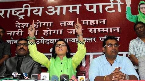 Rakhi Sawant, seen here addressing media as a member of Rashtriya Aam Party. (Source: PTI photo)