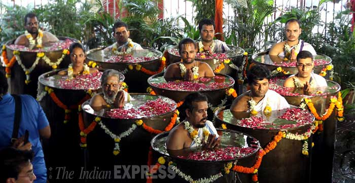Priests performed a special puja hoping for a rain shower as many parts of India including, Mumbai and New Delhi, continue to reel under severe heat wave. (Source: Express photo by Pradeep Kocharekar)