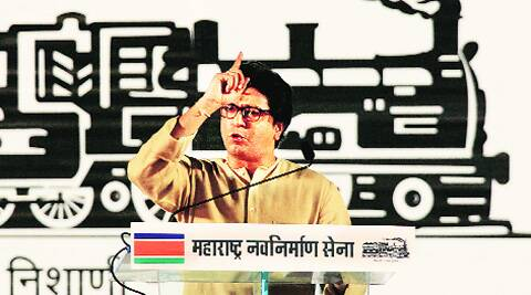 MNS Chief Raj Thackeray addresses a rally at Sion in Mumbai on Saturday. Prashant Nadkar