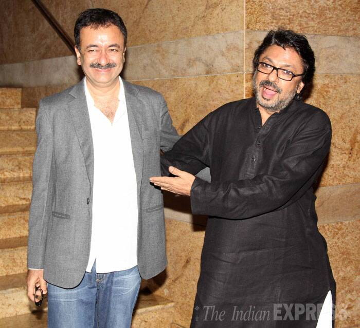 Filmmakers Rajkumar Hirani and Sanjay Leela Bhasali share a moment for the cameras. (Source: Varinder Chawla)