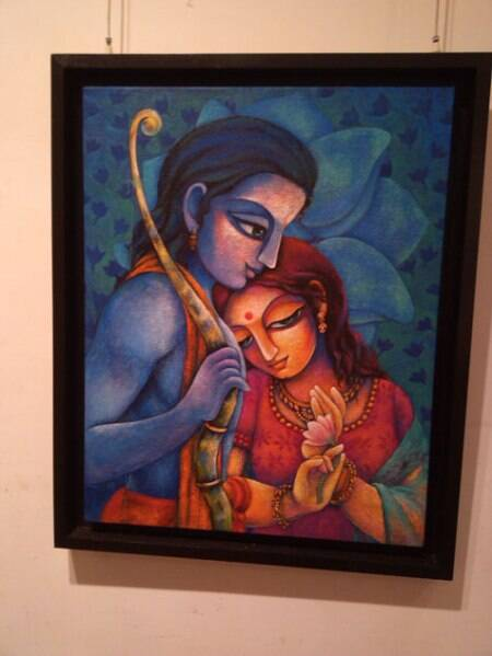 Another painting shows Rama and Sita holding a bow togethe Source: Express Photo
