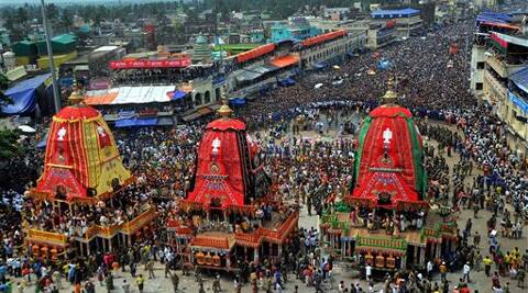 "Three chariots of Lord Jagannath, Balabhadra and Subhadra during the annual ""Rath Yatra"" in Puri on Sunday. Source: PTI Photo"