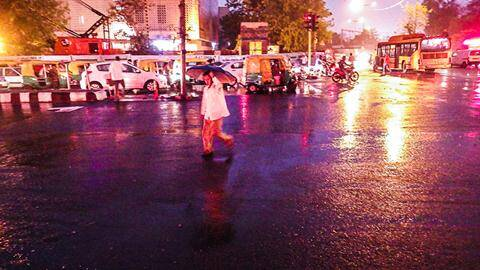 Outdoor photo of heavy rain at dusk. (Photo by Tashi Tobgyal)