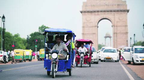 Though there is no data on e-rickshaws, Transport department says there are nearly one lakh e-rickshaws in the capital. (Source: IE photo by Tashi Tobgyal)