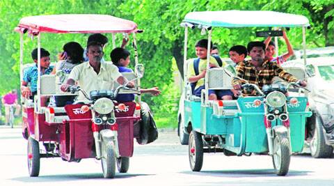 Battery operated rickshaws in Chandigarh on Saturday. (Source: Express photo by Sumit Malhotra)