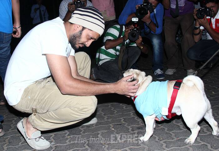 Riteish meets his 'pug' friend. (Source: Varinder Chawla)