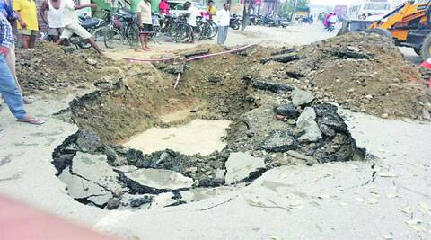 Major cave in on Chandigarh road. (Source: Express photo)