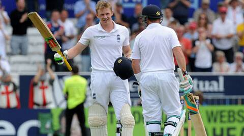 England's Sam Robson celebrates his maiden Test century against Sri Lanka on the second day of the second Test match in Leeds on Saturday. (Source: AP)