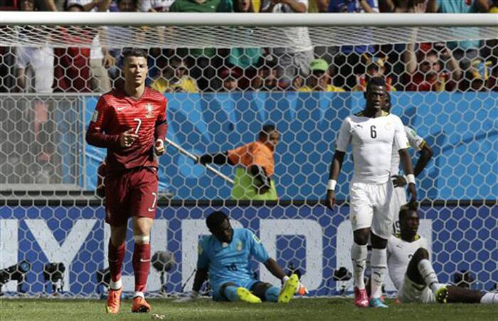 Portugal's Cristiano Ronaldo scored his side's first goal in the 80th minute to lead Portugal 2-1. (Source: AP)