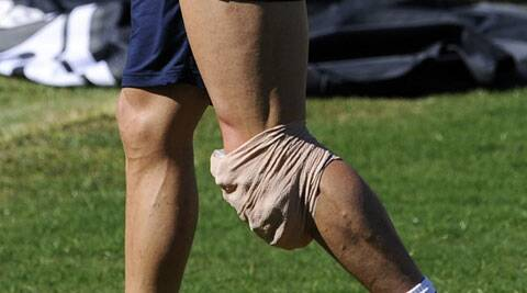 Cristiano Ronaldo cut short training but told a television channel that his knee was 'fine' on Friday. (Source: AP photo)