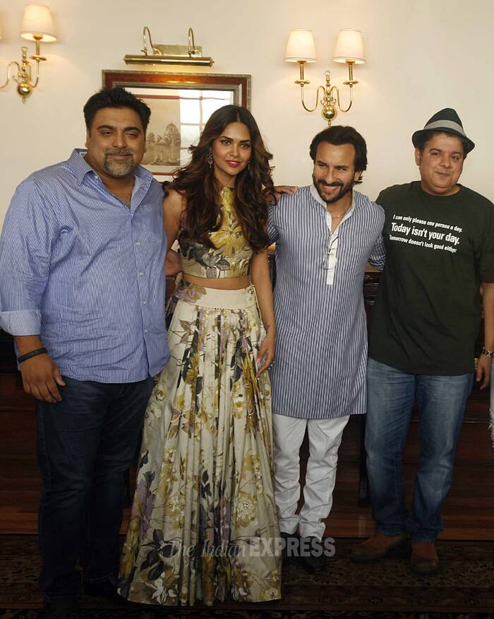 "Bollywood actors <a href=""http://indianexpress.com/article/entertainment/bollywood/kareena-kapoor-taught-to-pout-for-humshakals-saif-ali-khan/"" target=""_blank"">Saif Ali Khan</a>, Ritesh Deshmukh, Ram Kapoor and actress Esha Gupta and Tamannaah Bhatia along with their director Sajid Khan were in New Delhi to promote their upcoming film 'Humshakals'. (Source: Express photo by Praveen Khanna)"