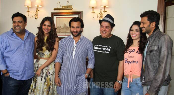 Actor Saif Ali Khan was cool in a blue short kurta and pyjama.Ram Kapoor dressed in semi formals while Riteish Deshmukh braved a jacked on T-shirt in the sizzling Delhi summer. (Source: Express photo by Praveen Khanna)