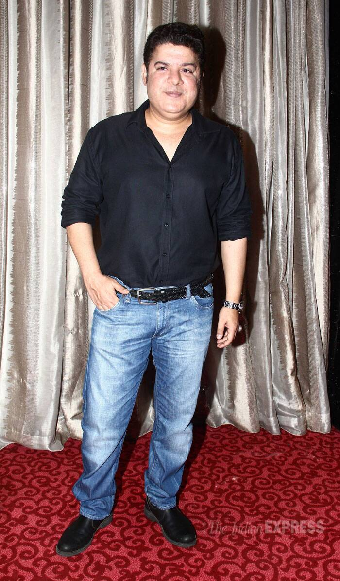Sajid Khan beamed as he posed for the cameras. However, half of the director's team was missing including Saif Ali Khan, Tamannaah Bhatia. (Source: Varinder Chawla)