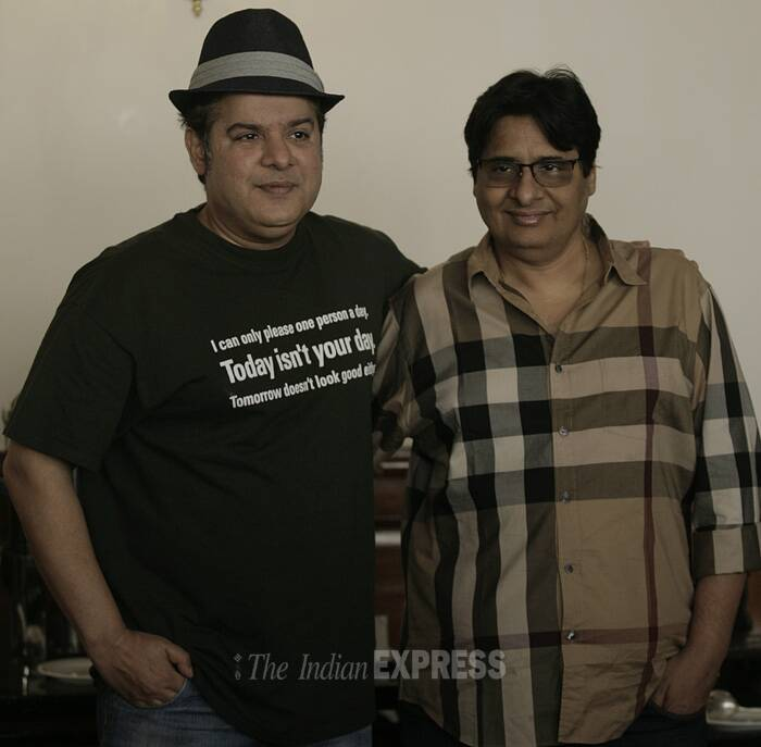 "The filmmaker known for his comedy films 'Housefull' and its sequel had the media in splits when he <a href=""http://indianexpress.com/article/entertainment/bollywood/when-sajid-khan-made-media-mourn-himmatwala/"" target=""_blank"">tricked the journalists into mourning for his last release 'Himmatwala'</a>. <br />Seen here with producer Vashu Bhagnani. (Source: Express photo by Praveen Khanna)"
