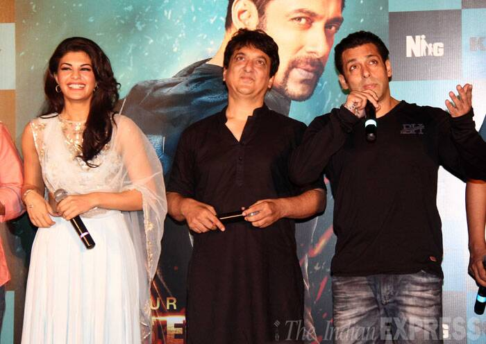 "Jacqueline couldn't stop smiling while Salman was busy entertaining his fans at the Kick launch. <br /><br /> Salman Khan's character 'devil' is reported to have many shades and the actor has performed many stunts while romancing Jacqueline. ""I will not reveal what my character is in 'Kick'. All I can say is it's a mischievous and naughty role (and) that's why its called devil,"" the actor said.   (Source: Varinder Chawla)"