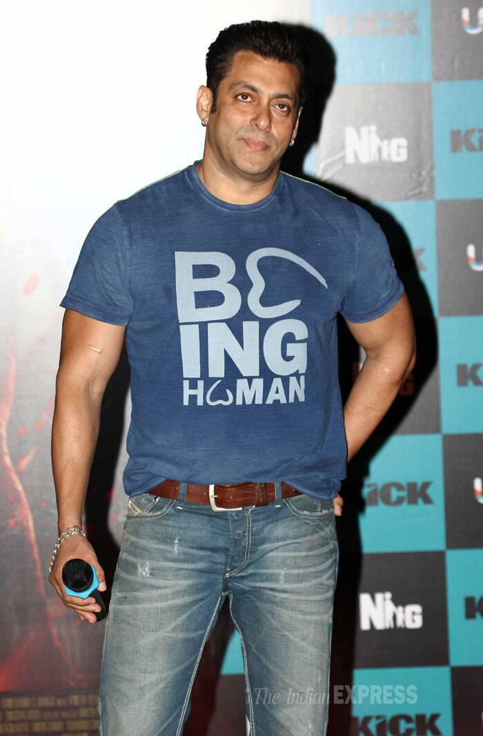 Salman Khan, who is seen doing his best to woo Jacqueline in the song with his devilish tricks, wore a Being Human tee shirt and jeans. (Source: Varinder Chawla)