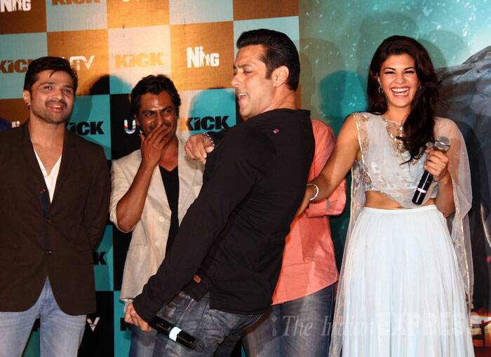 Salman Khan is back and this time with a 'Kick'. The actor danced his way to his fans hearts at the launch of the trailer of Sajid Nadiadwala's 'Kick' at Gaiety cinema hall in Mumbai on Sunday (June 15). The actor was accompanied by his leading lady Jacqueline Fernandez, Nawazuddin Siddiqui and Randeep Hooda. (Source: Varinder Chawla)