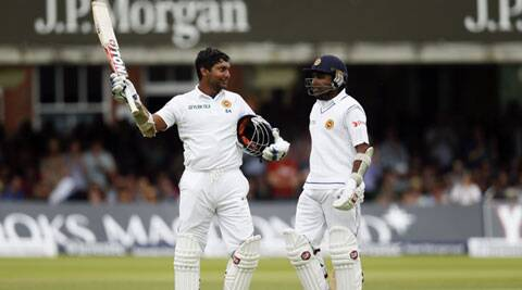 Kumar Sangakkara scored his first century at Lord's, 36th in Tests, to take Sri Lanka close to Engalnd's total of 549-5 on Saturday. (Source: AP)